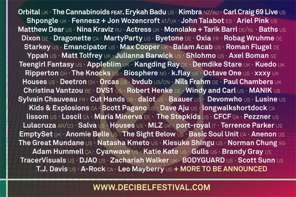 dB2012 lineup ORBITAL & THE CANNABANOIDS feat. ERYKAH BADU TO HEADLINE THE 2012 DECIBEL FESTIVAL : SEPTEMBER 27TH AND 28TH AT THE PARAMOUNT THEATRE